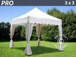 Gazebo Pro 3x3 m. White. Curved valance and 4 curtains