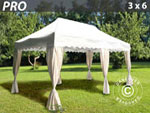 Gazebo Pro 3x6 m. Curved valance and 6 curtains, white